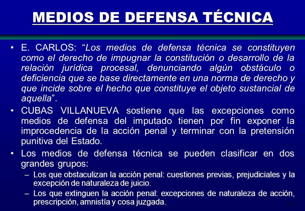 108 MEDIOS DE DEFENSA TÉCNICA E. CARLOS: Los medios de defensa técnica se constituyen como el derecho de impugnar la constitución o desarrollo de la r