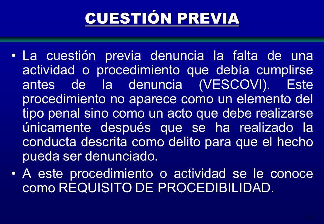 110 CUESTIÓN PREVIA La cuestión previa denuncia la falta de una actividad o procedimiento que debía cumplirse antes de la denuncia (VESCOVI). Este pro