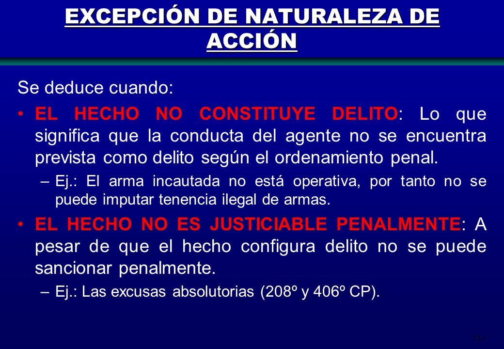 113 EXCEPCIÓN DE NATURALEZA DE ACCIÓN Se deduce cuando: EL HECHO NO CONSTITUYE DELITO: Lo que significa que la conducta del agente no se encuentra pre