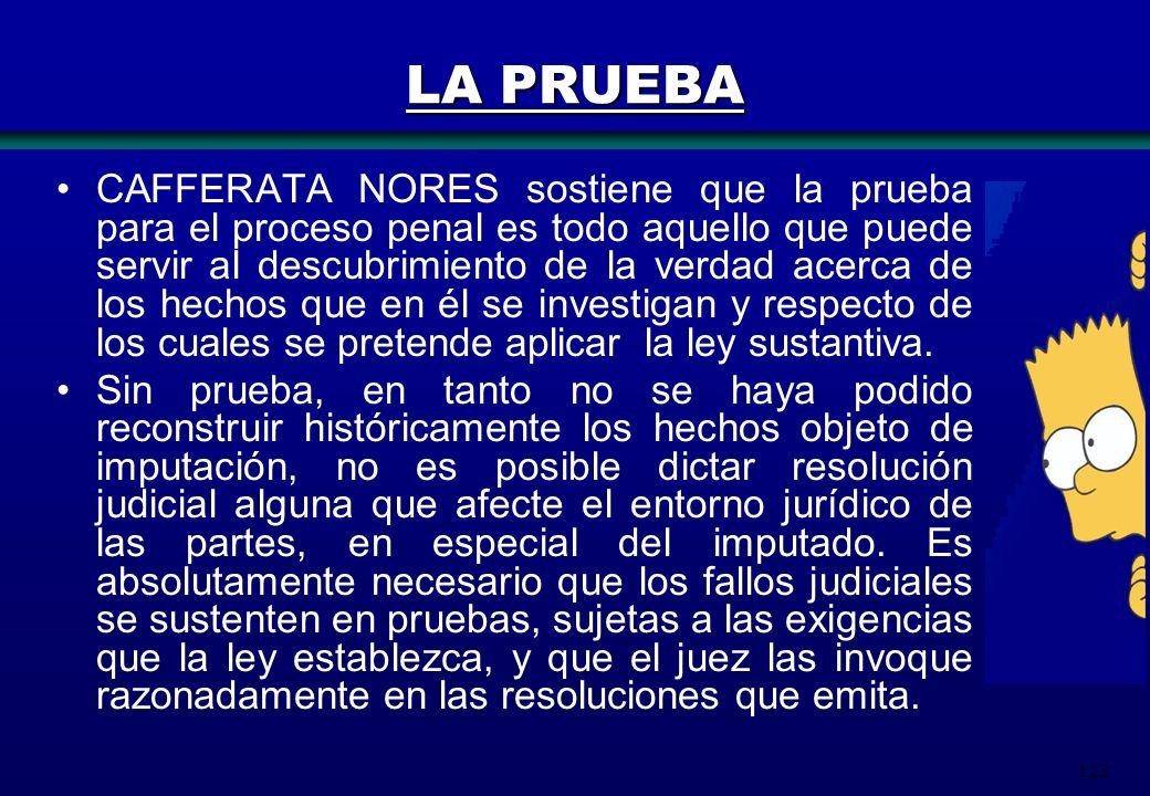 122 LA PRUEBA CAFFERATA NORES sostiene que la prueba para el proceso penal es todo aquello que puede servir al descubrimiento de la verdad acerca de l