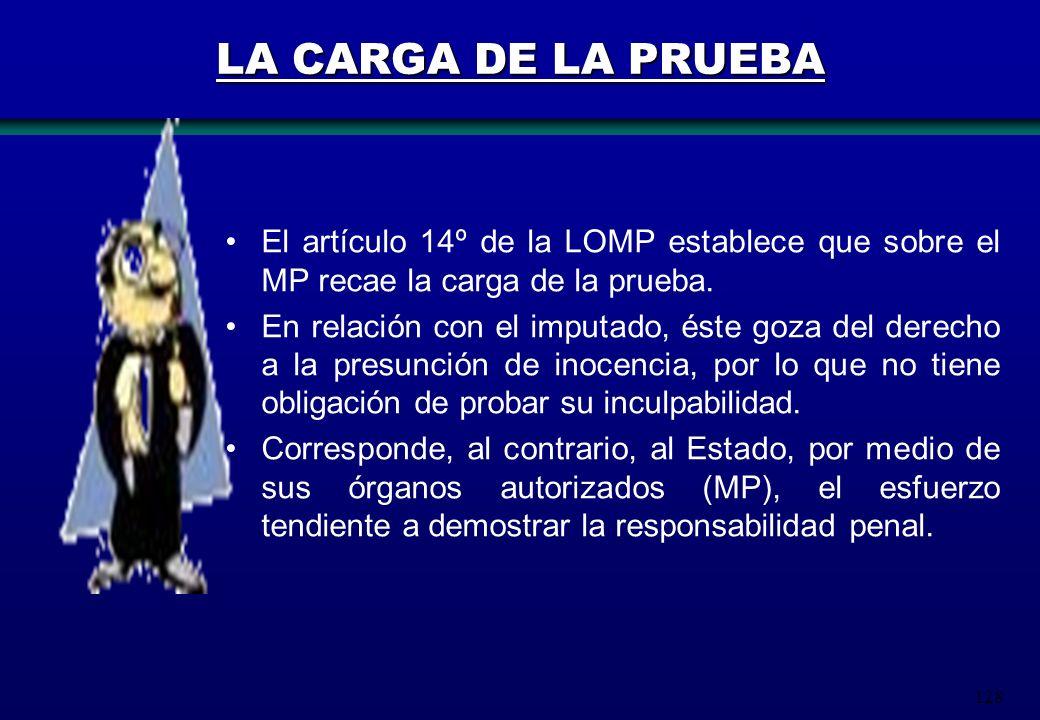 128 LA CARGA DE LA PRUEBA El artículo 14º de la LOMP establece que sobre el MP recae la carga de la prueba. En relación con el imputado, éste goza del