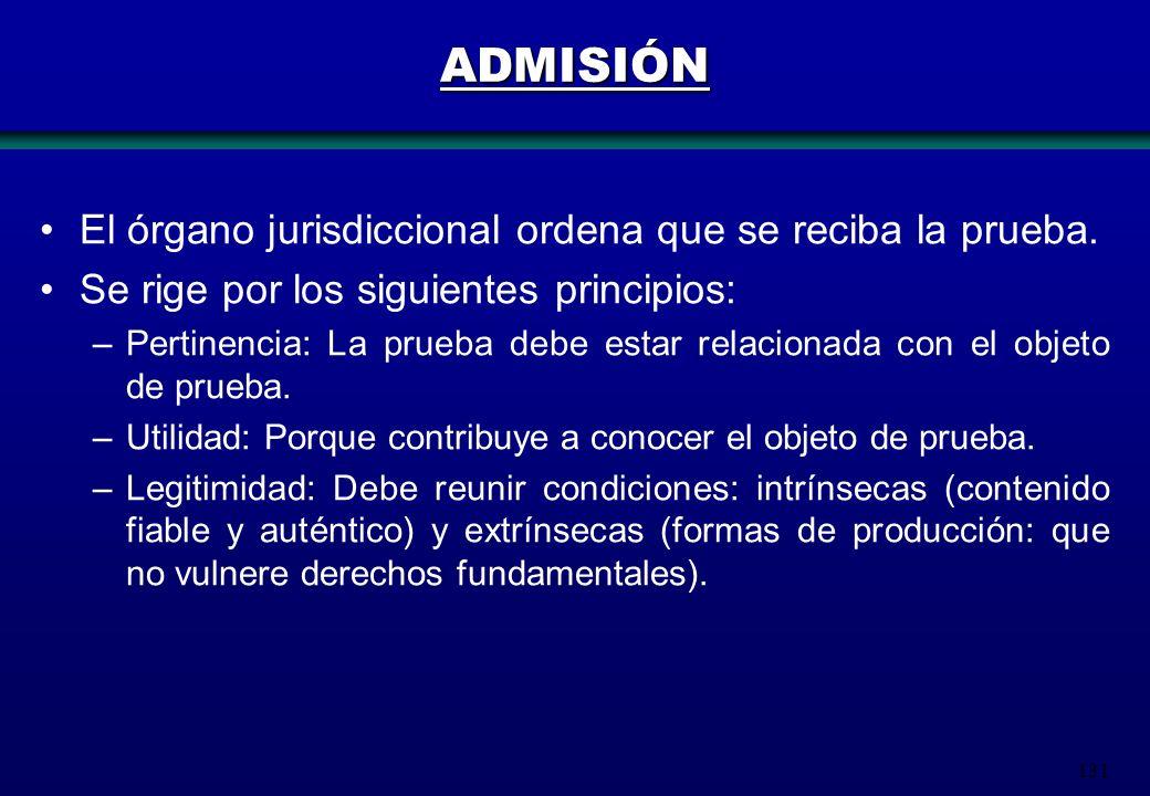 131 El órgano jurisdiccional ordena que se reciba la prueba. Se rige por los siguientes principios: –Pertinencia: La prueba debe estar relacionada con