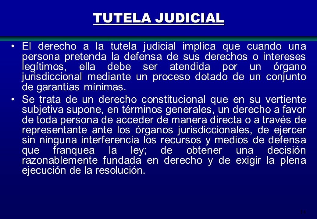 14 TUTELA JUDICIAL El derecho a la tutela judicial implica que cuando una persona pretenda la defensa de sus derechos o intereses legítimos, ella debe