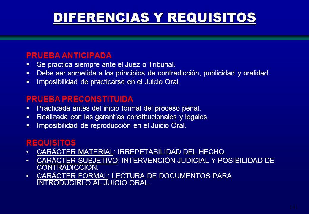141 DIFERENCIAS Y REQUISITOS PRUEBA ANTICIPADA Se practica siempre ante el Juez o Tribunal. Debe ser sometida a los principios de contradicción, publi