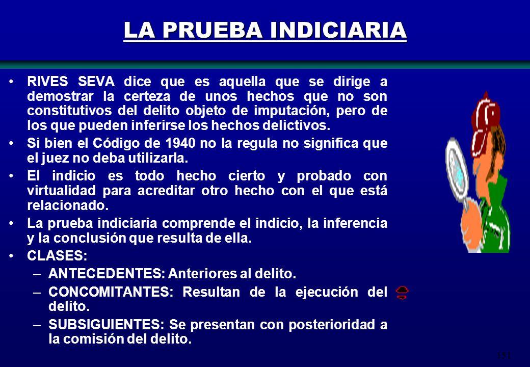 151 LA PRUEBA INDICIARIA RIVES SEVA dice que es aquella que se dirige a demostrar la certeza de unos hechos que no son constitutivos del delito objeto