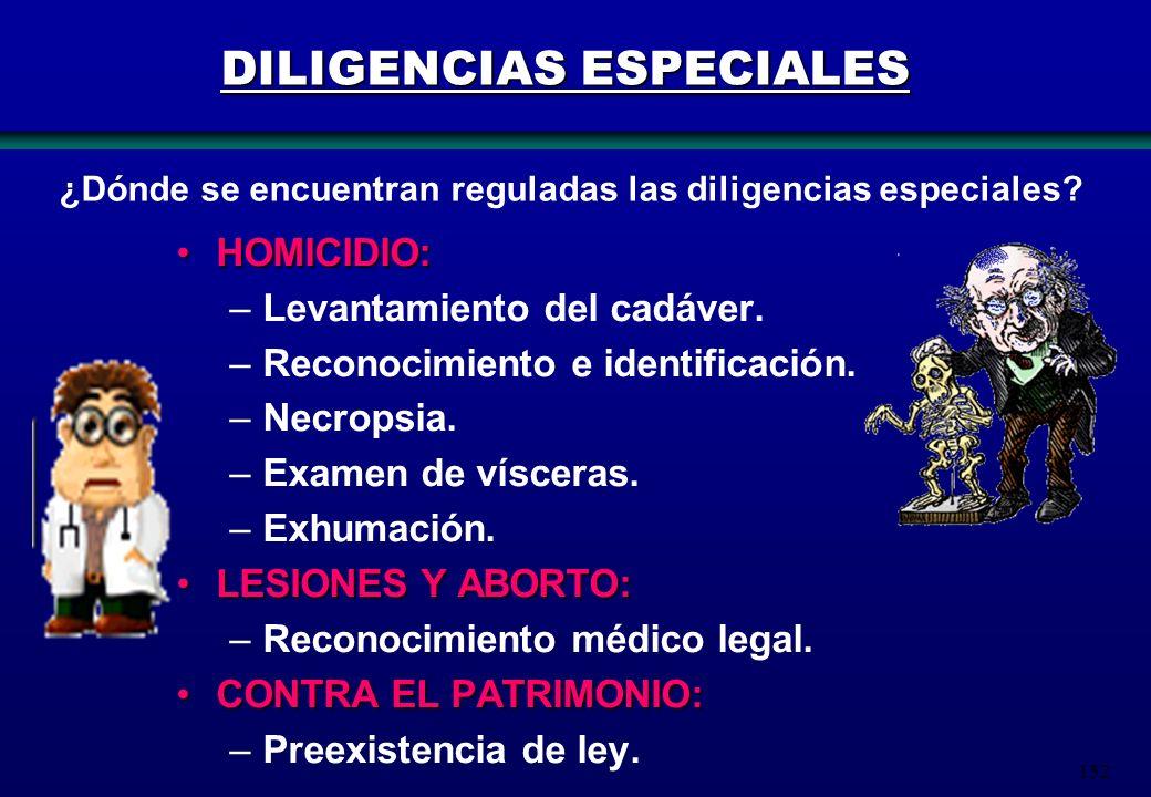 152 DILIGENCIAS ESPECIALES HOMICIDIO:HOMICIDIO: –Levantamiento del cadáver. –Reconocimiento e identificación. –Necropsia. –Examen de vísceras. –Exhuma