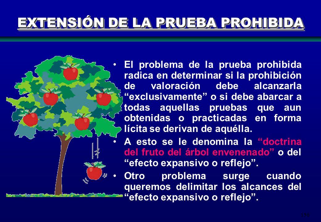 156 EXTENSIÓN DE LA PRUEBA PROHIBIDA El problema de la prueba prohibida radica en determinar si la prohibición de valoración debe alcanzarla exclusiva