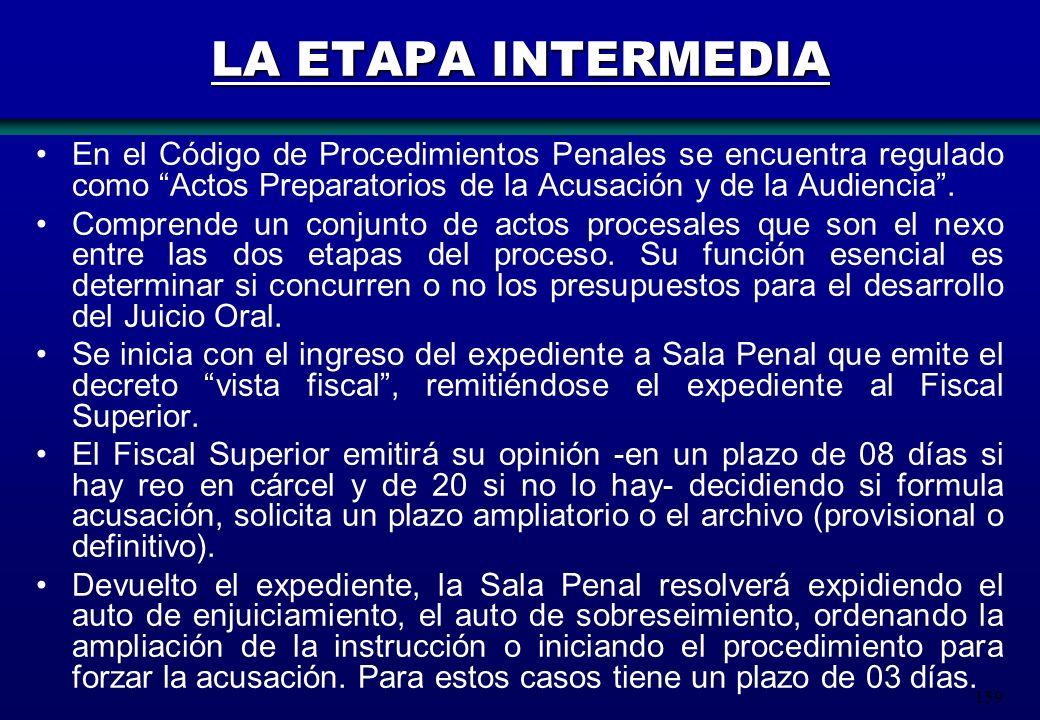 159 LA ETAPA INTERMEDIA En el Código de Procedimientos Penales se encuentra regulado como Actos Preparatorios de la Acusación y de la Audiencia. Compr