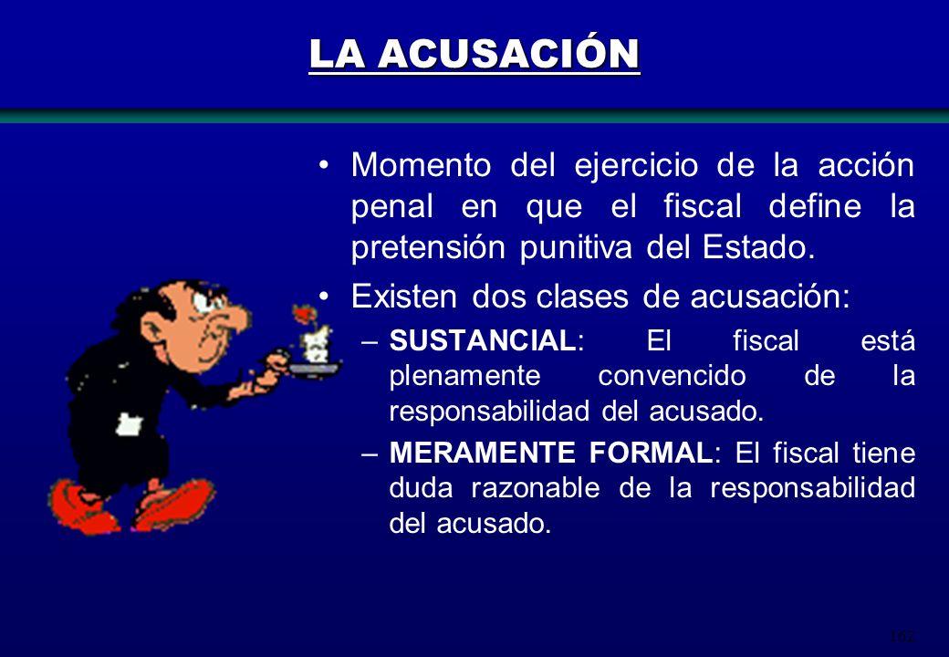 162 LA ACUSACIÓN Momento del ejercicio de la acción penal en que el fiscal define la pretensión punitiva del Estado. Existen dos clases de acusación: