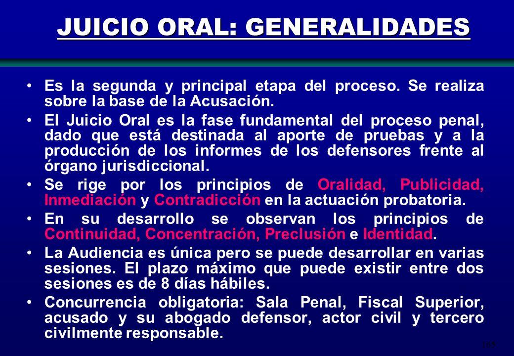 165 JUICIO ORAL: GENERALIDADES Es la segunda y principal etapa del proceso. Se realiza sobre la base de la Acusación. El Juicio Oral es la fase fundam