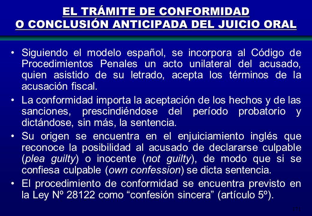 171 EL TRÁMITE DE CONFORMIDAD O CONCLUSIÓN ANTICIPADA DEL JUICIO ORAL Siguiendo el modelo español, se incorpora al Código de Procedimientos Penales un