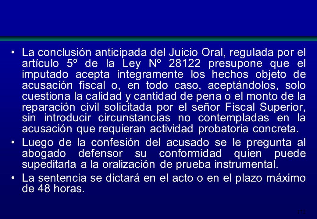 172 La conclusión anticipada del Juicio Oral, regulada por el artículo 5º de la Ley Nº 28122 presupone que el imputado acepta íntegramente los hechos