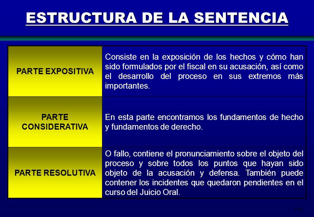 178 ESTRUCTURA DE LA SENTENCIA PARTE EXPOSITIVA Consiste en la exposición de los hechos y cómo han sido formulados por el fiscal en su acusación, así