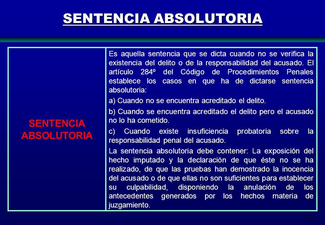 179 SENTENCIA ABSOLUTORIA Es aquella sentencia que se dicta cuando no se verifica la existencia del delito o de la responsabilidad del acusado. El art