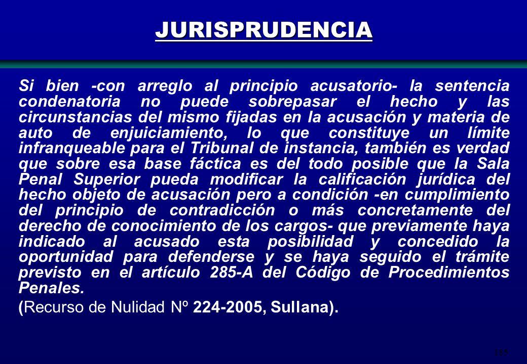 185 JURISPRUDENCIA Si bien -con arreglo al principio acusatorio- la sentencia condenatoria no puede sobrepasar el hecho y las circunstancias del mismo