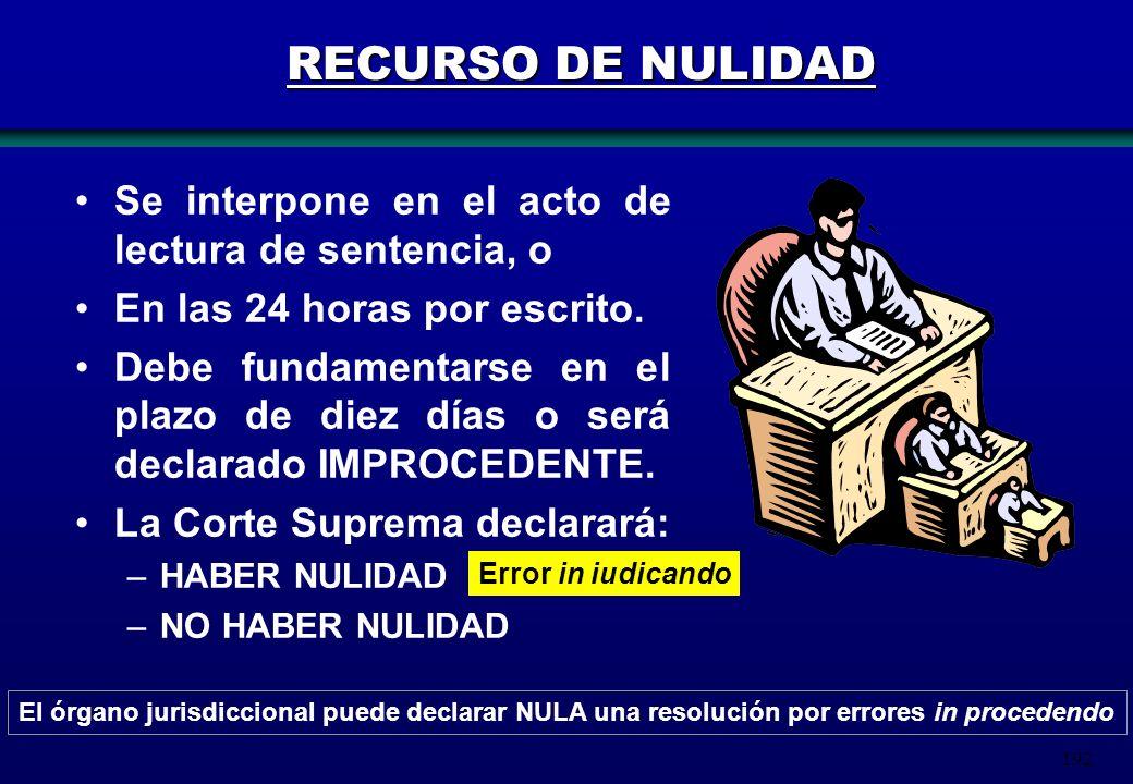 192 RECURSO DE NULIDAD Se interpone en el acto de lectura de sentencia, o En las 24 horas por escrito. Debe fundamentarse en el plazo de diez días o s