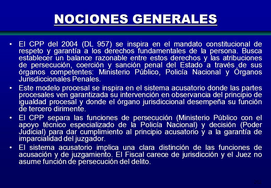 202 NOCIONES GENERALES El CPP del 2004 (DL 957) se inspira en el mandato constitucional de respeto y garantía a los derechos fundamentales de la perso