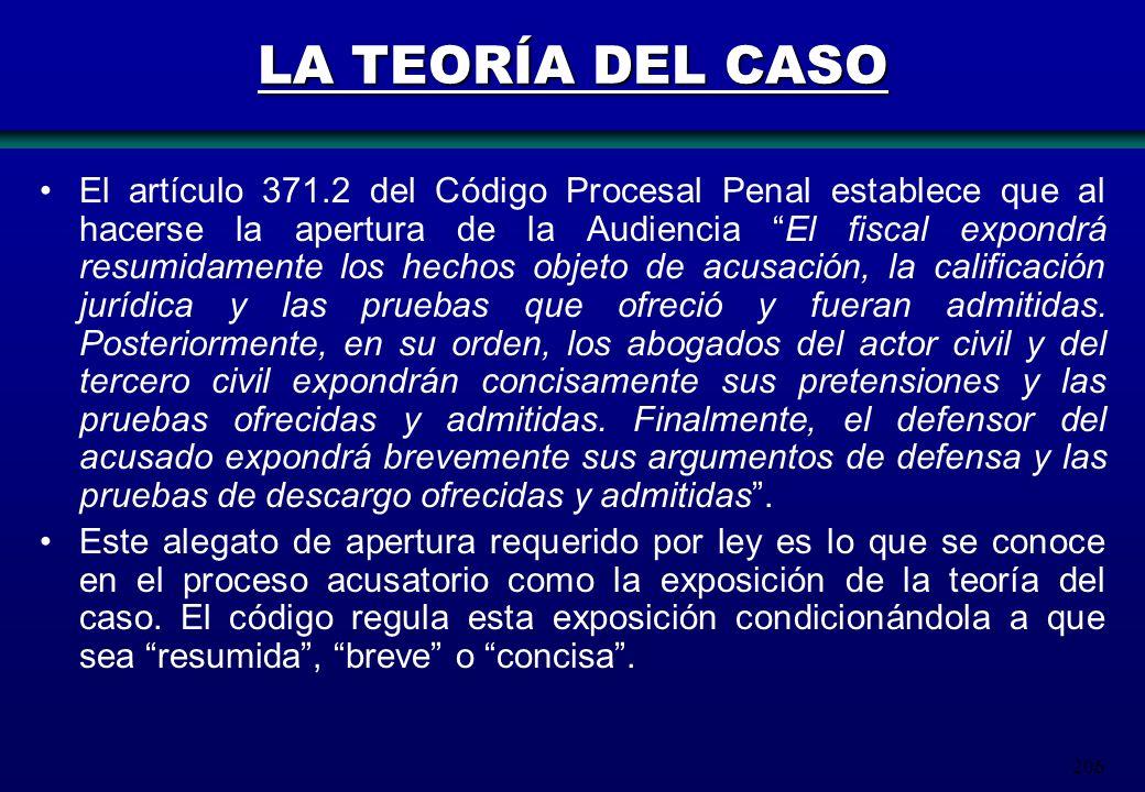 206 LA TEORÍA DEL CASO El artículo 371.2 del Código Procesal Penal establece que al hacerse la apertura de la Audiencia El fiscal expondrá resumidamen