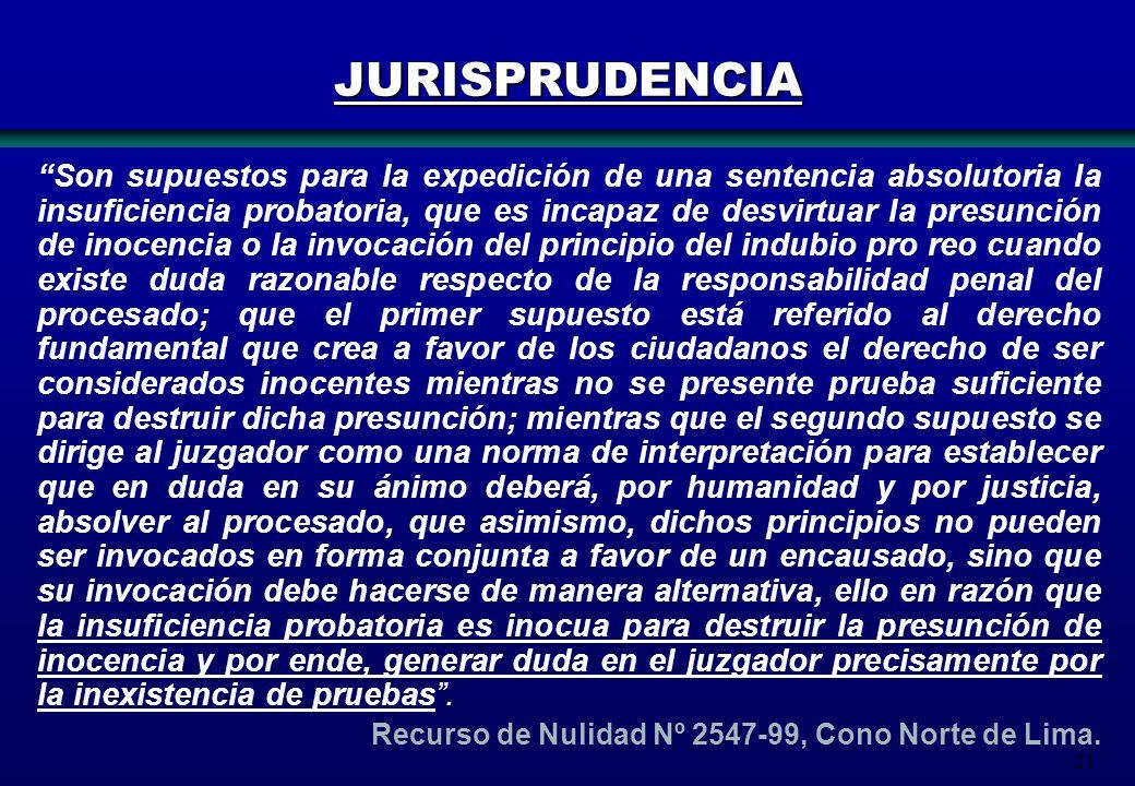 21 Son supuestos para la expedición de una sentencia absolutoria la insuficiencia probatoria, que es incapaz de desvirtuar la presunción de inocencia