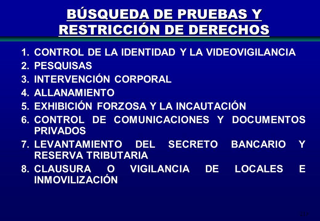 213 BÚSQUEDA DE PRUEBAS Y RESTRICCIÓN DE DERECHOS 1.CONTROL DE LA IDENTIDAD Y LA VIDEOVIGILANCIA 2.PESQUISAS 3.INTERVENCIÓN CORPORAL 4.ALLANAMIENTO 5.