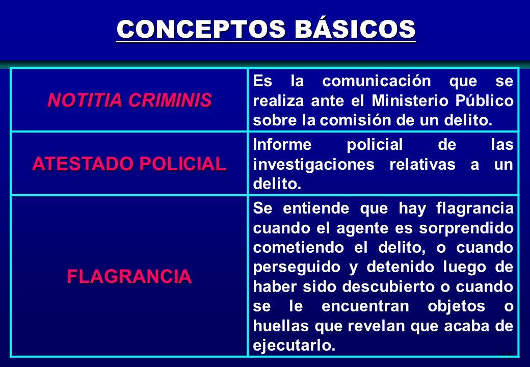 218 CONCEPTOS BÁSICOS NOTITIA CRIMINIS Es la comunicación que se realiza ante el Ministerio Público sobre la comisión de un delito. ATESTADO POLICIAL