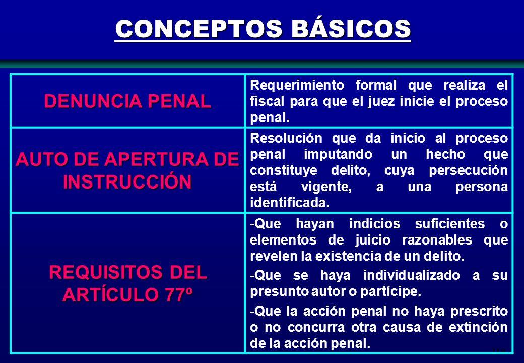 219 CONCEPTOS BÁSICOS DENUNCIA PENAL Requerimiento formal que realiza el fiscal para que el juez inicie el proceso penal. AUTO DE APERTURA DE INSTRUCC