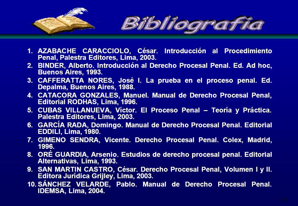 224 1.AZABACHE CARACCIOLO, César. Introducción al Procedimiento Penal, Palestra Editores, Lima, 2003. 2.BINDER, Alberto. Introducción al Derecho Proce