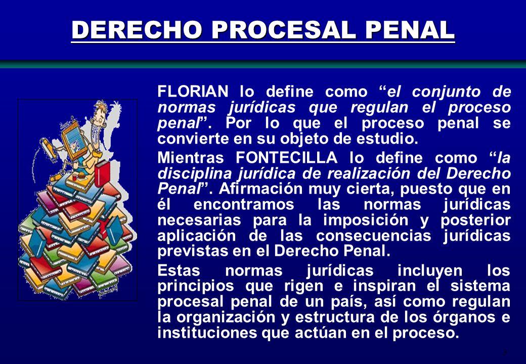 3 DERECHO PROCESAL PENAL FLORIAN lo define como el conjunto de normas jurídicas que regulan el proceso penal. Por lo que el proceso penal se convierte