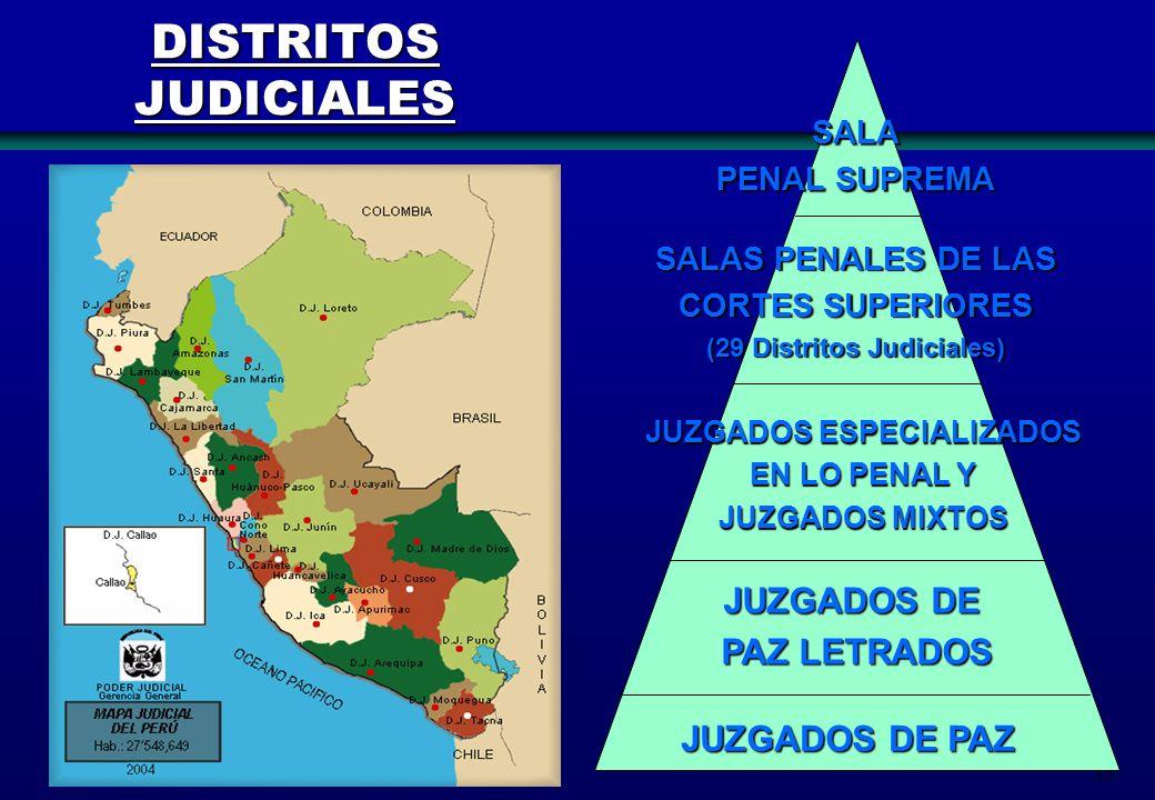 33 SALA PENAL SUPREMA SALAS PENALES DE LAS CORTES SUPERIORES (29 Distritos Judiciales) JUZGADOS ESPECIALIZADOS EN LO PENAL Y EN LO PENAL Y JUZGADOS MI
