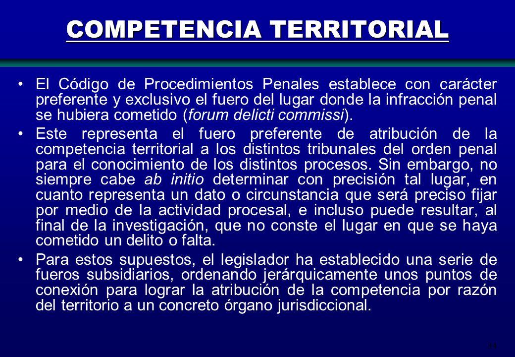 34 COMPETENCIA TERRITORIAL El Código de Procedimientos Penales establece con carácter preferente y exclusivo el fuero del lugar donde la infracción pe