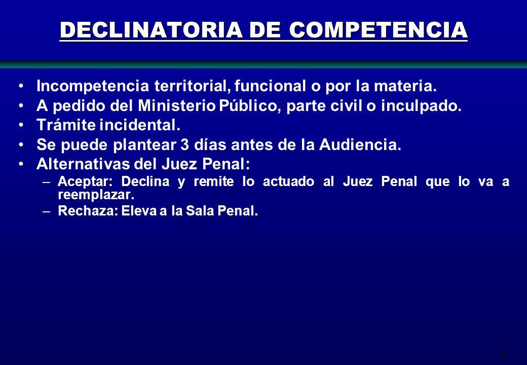 36 DECLINATORIA DE COMPETENCIA Incompetencia territorial, funcional o por la materia. A pedido del Ministerio Público, parte civil o inculpado. Trámit