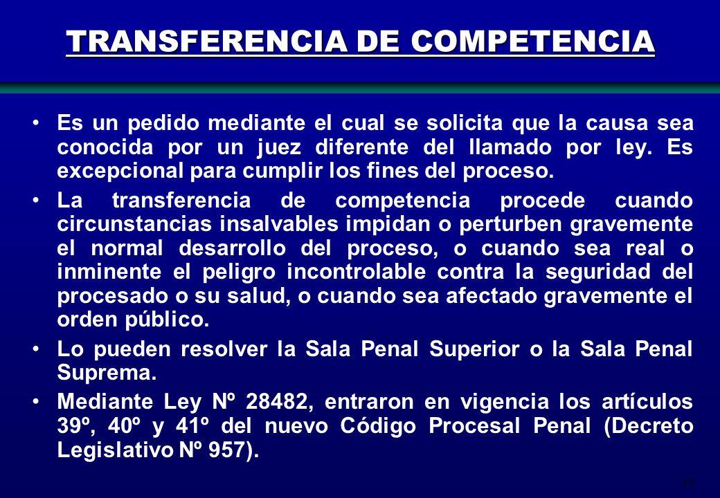 38 TRANSFERENCIA DE COMPETENCIA Es un pedido mediante el cual se solicita que la causa sea conocida por un juez diferente del llamado por ley. Es exce