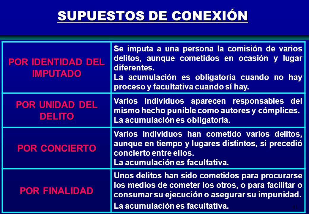 41 SUPUESTOS DE CONEXIÓN POR IDENTIDAD DEL IMPUTADO Se imputa a una persona la comisión de varios delitos, aunque cometidos en ocasión y lugar diferen