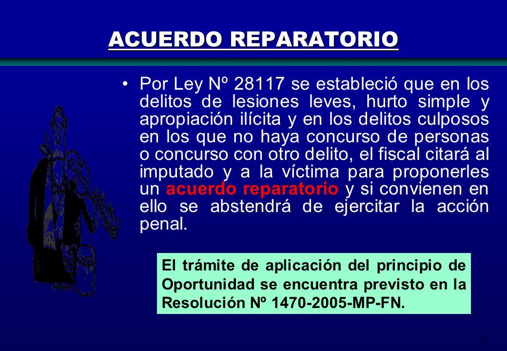 51 El trámite de aplicación del principio de Oportunidad se encuentra previsto en la Resolución Nº 1470-2005-MP-FN. ACUERDO REPARATORIO Por Ley Nº 281