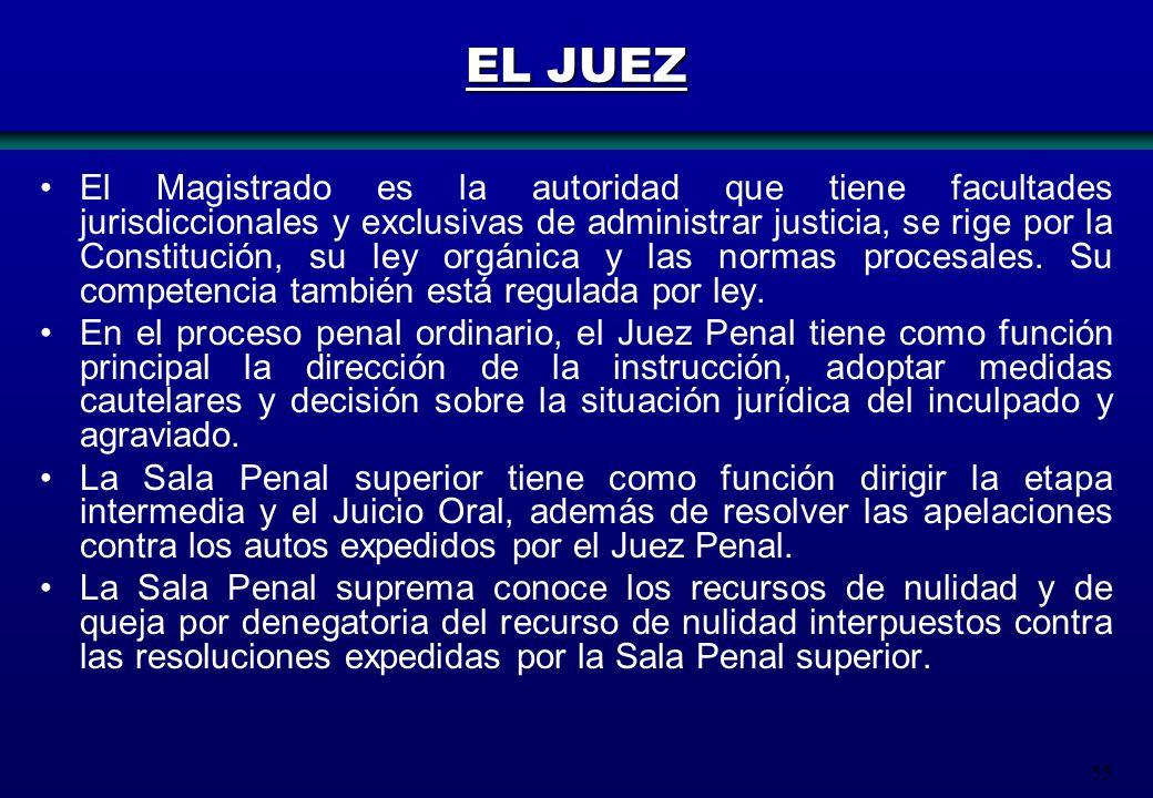 55 EL JUEZ El Magistrado es la autoridad que tiene facultades jurisdiccionales y exclusivas de administrar justicia, se rige por la Constitución, su l