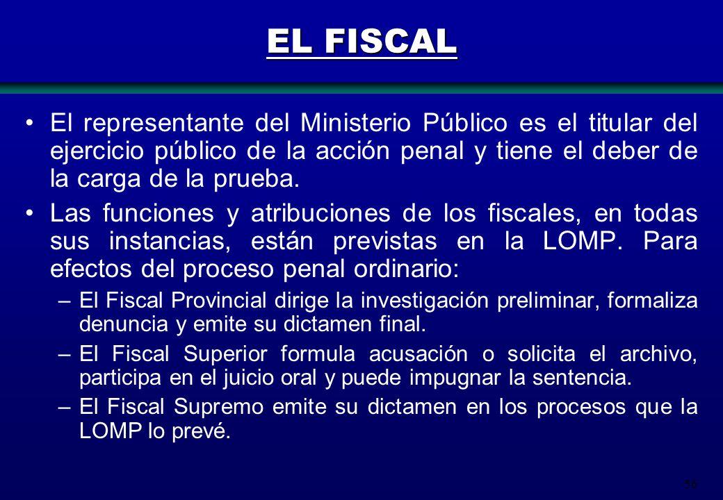 56 EL FISCAL El representante del Ministerio Público es el titular del ejercicio público de la acción penal y tiene el deber de la carga de la prueba.