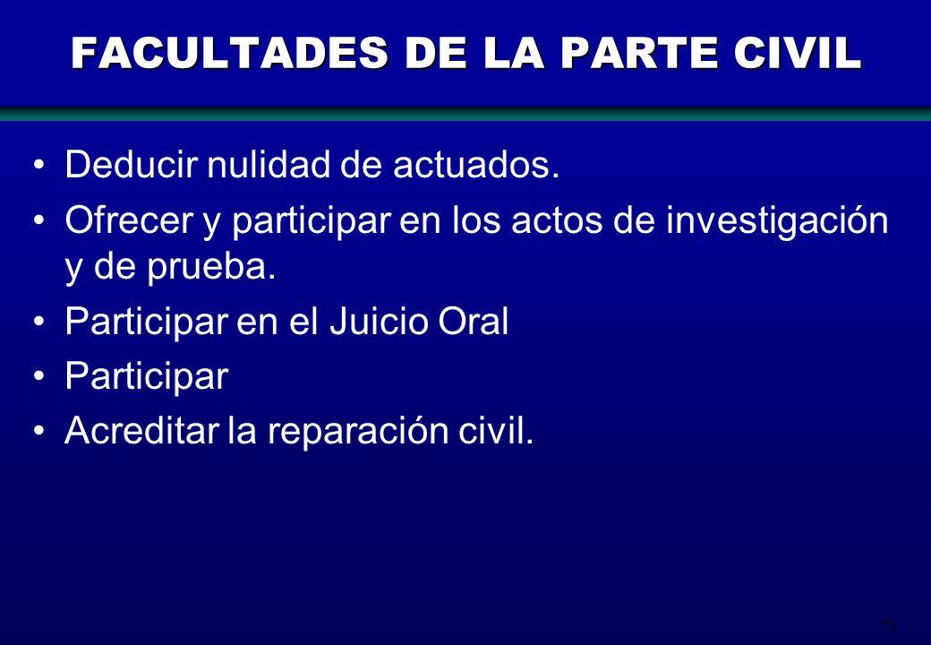 58 FACULTADES DE LA PARTE CIVIL Deducir nulidad de actuados. Ofrecer y participar en los actos de investigación y de prueba. Participar en el Juicio O