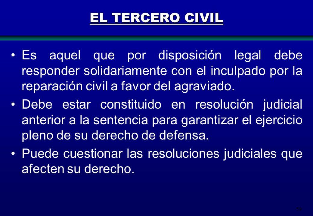 59 EL TERCERO CIVIL Es aquel que por disposición legal debe responder solidariamente con el inculpado por la reparación civil a favor del agraviado. D