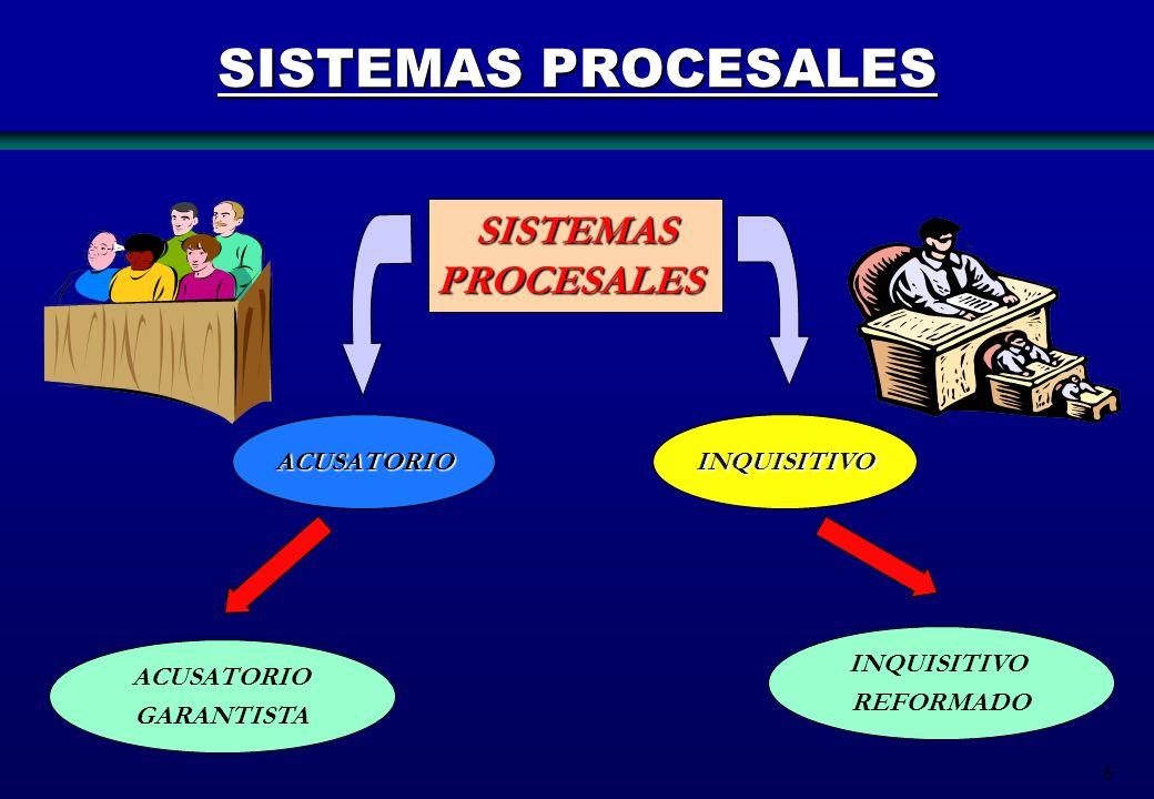7 SISTEMA ACUSATORIO El sistema acusatorio es el que primero aparece como una fórmula de solución de conflictos habidos entre dos partes que son resueltos por un tercero, el juez.