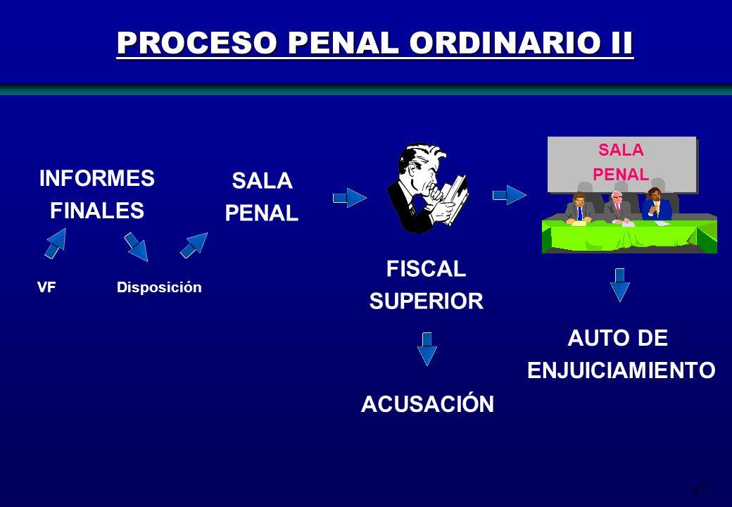 67 INFORMES FINALES SALA PENAL SALA PENAL ACUSACIÓN AUTO DE ENJUICIAMIENTO FISCAL SUPERIOR VFDisposición PROCESO PENAL ORDINARIO II