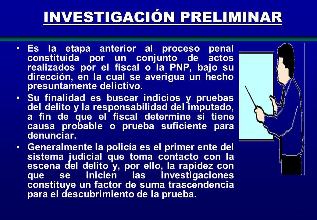 77 INVESTIGACIÓN PRELIMINAR Es la etapa anterior al proceso penal constituida por un conjunto de actos realizados por el fiscal o la PNP, bajo su dire