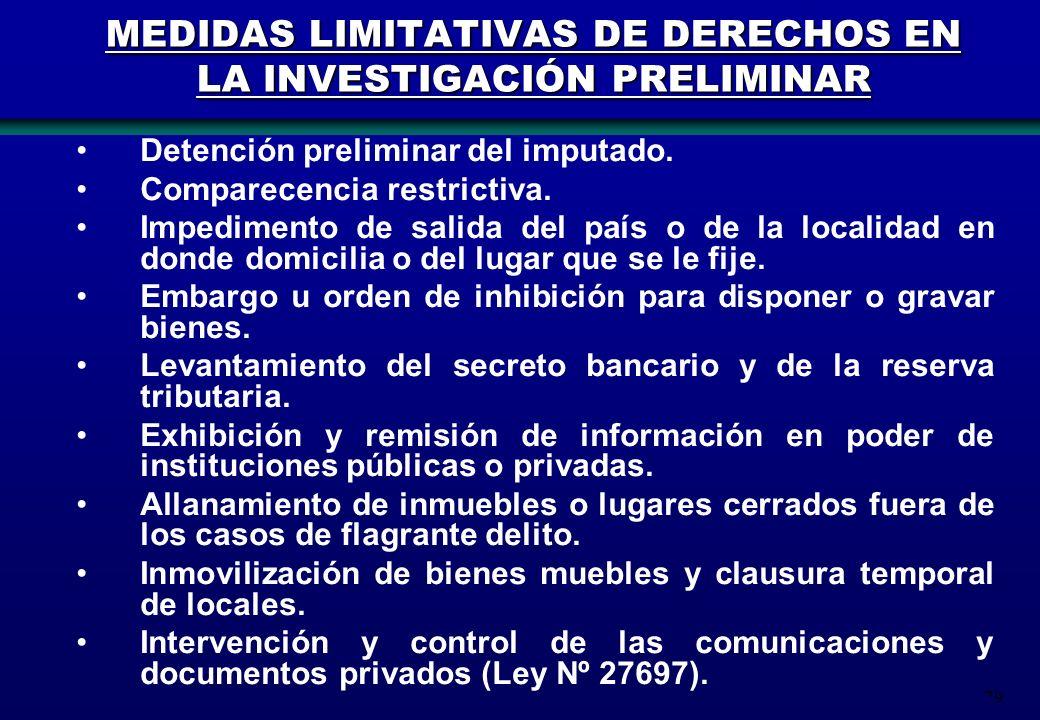 79 Detención preliminar del imputado. Comparecencia restrictiva. Impedimento de salida del país o de la localidad en donde domicilia o del lugar que s