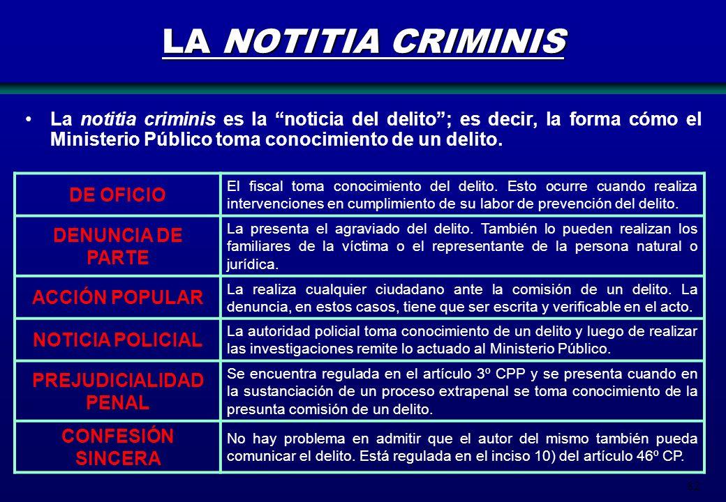 82 LA NOTITIA CRIMINIS La notitia criminis es la noticia del delito; es decir, la forma cómo el Ministerio Público toma conocimiento de un delito. DE