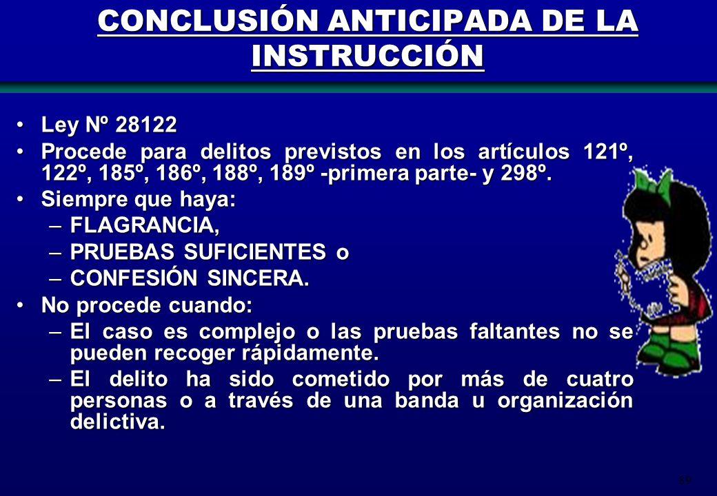 89 CONCLUSIÓN ANTICIPADA DE LA INSTRUCCIÓN Ley Nº 28122Ley Nº 28122 Procede para delitos previstos en los artículos 121º, 122º, 185º, 186º, 188º, 189º
