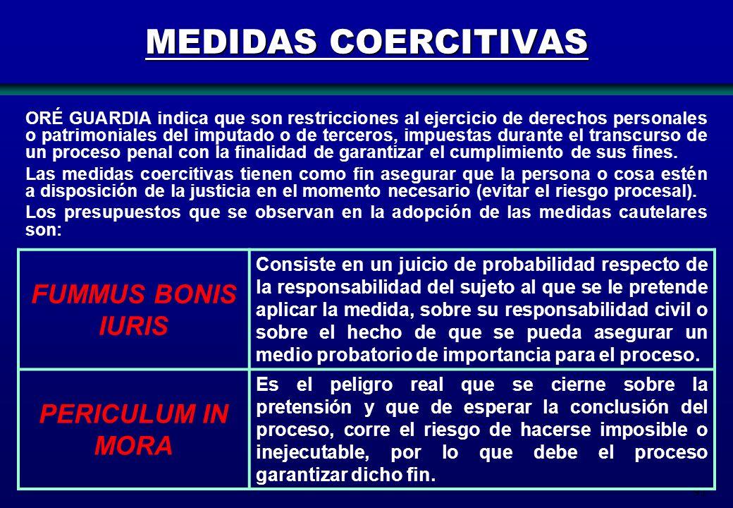 91 MEDIDAS COERCITIVAS ORÉ GUARDIA indica que son restricciones al ejercicio de derechos personales o patrimoniales del imputado o de terceros, impues