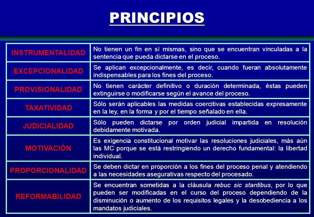 92 PRINCIPIOS INSTRUMENTALIDAD No tienen un fin en sí mismas, sino que se encuentran vinculadas a la sentencia que pueda dictarse en el proceso. EXCEP