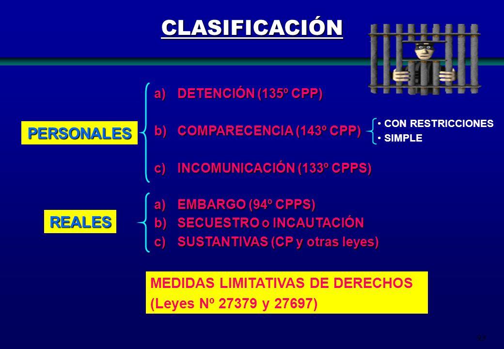 93 CLASIFICACIÓN PERSONALES REALES a)DETENCIÓN (135º CPP) b)COMPARECENCIA (143º CPP) c)INCOMUNICACIÓN (133º CPPS) a)EMBARGO (94º CPPS) b)SECUESTRO o I