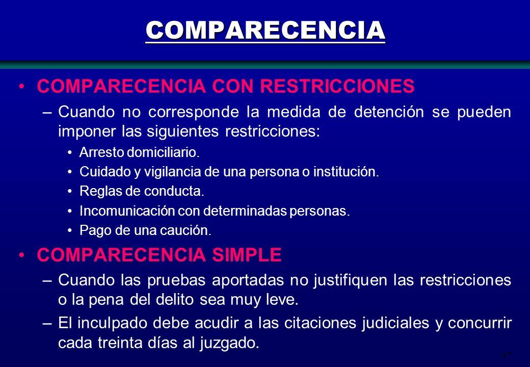 97 COMPARECENCIA COMPARECENCIA CON RESTRICCIONES –Cuando no corresponde la medida de detención se pueden imponer las siguientes restricciones: Arresto