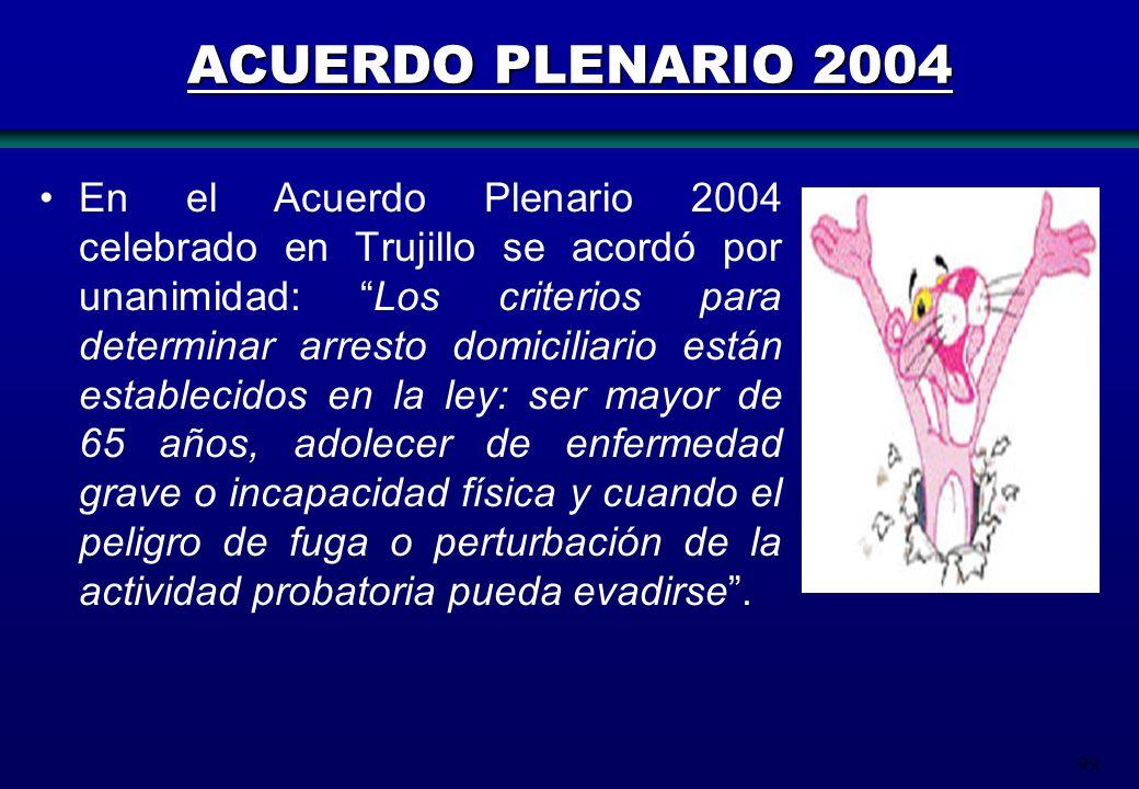 99 ACUERDO PLENARIO 2004 En el Acuerdo Plenario 2004 celebrado en Trujillo se acordó por unanimidad: Los criterios para determinar arresto domiciliari
