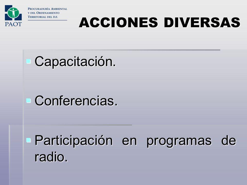 ACCIONES DIVERSAS Capacitación. Capacitación. Conferencias. Conferencias. Participación en programas de radio. Participación en programas de radio.